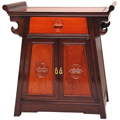 Oriental Furniture Rosewood Two-Tone Altar Accent Cabinet