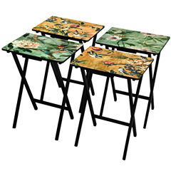 Oriental Furniture Birds And Flowers 4-pc. TV Tray Table