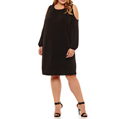 Boutique + Long Sleeve Cold Shoulder Shift Dress-Plus