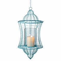 Large Turquoise Pillar Lantern