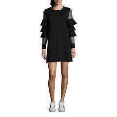 As U Wish Long Sleeve A-Line Dress-Juniors