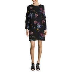 Worthington Long Sleeve Floral Shift Dress