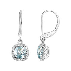 Blue Aquamarine Sterling Silver Drop Earrings