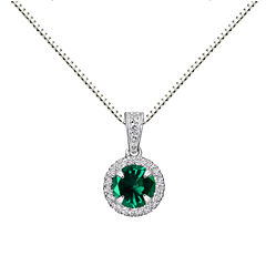 Womens Gray Emerald Sterling Silver Pendant Necklace
