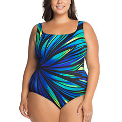 Robby Len By Longitude Panel One Piece Swimsuit Plus
