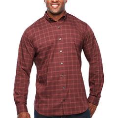 Van Heusen Long Sleeve Plaid Button-Front Shirt-Big and Tall
