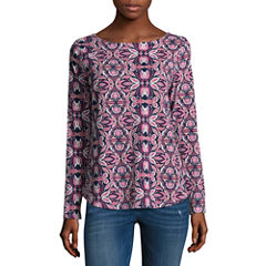 St. John's Bay Long Sleeve Boatneck T-Shirt-Womens