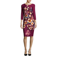 Worthington 3/4 Sleeve Floral Sheath Dress