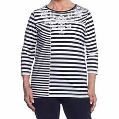 Alfred Dunner Easy Going 3/4 Sleeve Crew Neck Stripe T-Shirt-Womens