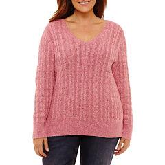 St. John's Bay Long Sleeve V Neck Pullover Sweater-Plus