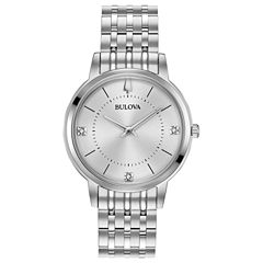Bulova Womens Silver Tone Bracelet Watch-96p183
