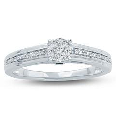 Womens 1/6 CT. T.W. Genuine Round White Diamond 10K Gold Promise Ring