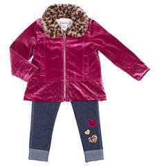 Little Lass Burgundy Velvet Jacket with Long Sleeve Graphic Top 3-pc. Legging Set- Preschool Girls