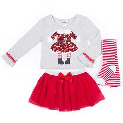Little Lass Santa Tutu 3-pc. Skirt Set with Socks- Preschool Girls