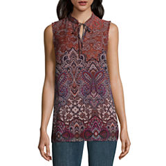 Alyx Sleeveless Split Crew Neck Woven Paisley Blouse