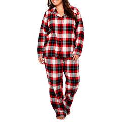Sleep Chic Flannel Notch Collar Pajama Set-Plus