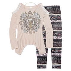 Knit Works Cold Shoulder Long Sleeve Fashion Top Legging Set with Necklace- Girls' 7-16 & Plus