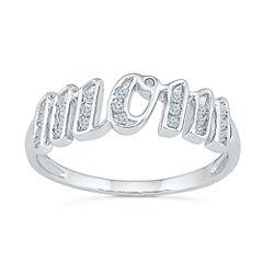 Womens 1/8 CT. T.W. Genuine White Diamond 10K Gold Band