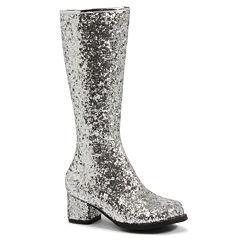 Silver Glitter Gogo Boots