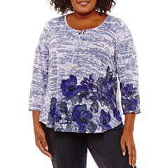 Unity World Wear 3/4 Sleeve Floral Burnout Pullover-Plus
