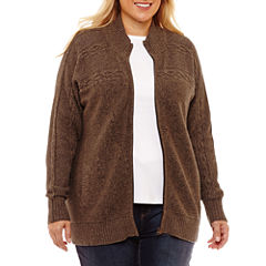 St. John's Bay Zip Front Cable Cardigan-Plus