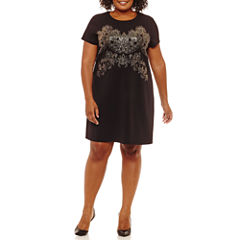 Worthington Short Sleeve Scroll Shift Dress-Plus