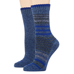Columbia® Womens 2-pk. Moisture Control Striped and Solid Crew Socks