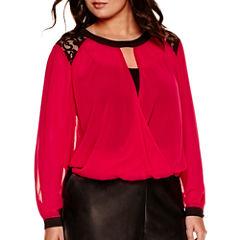 Bisou Bisou® Long-Sleeve Lace-Shoulder Surplice Top - Plus