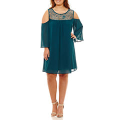 Heart N Soul 3/4 Sleeve A-Line Dress-Juniors Plus