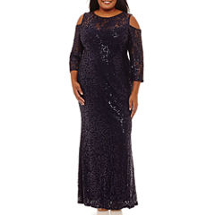 Blu Sage Long Sleeve Cold Shoulder Sequin Evening Gown-Plus
