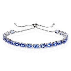 Womens Blue Iolite Sterling Silver Bolo Bracelet