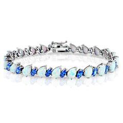 Womens 7 1/4 Inch White Opal Sterling Silver Link Bracelet