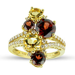 Womens Genuine Red Garnet 14K Gold Over Silver Cocktail Ring