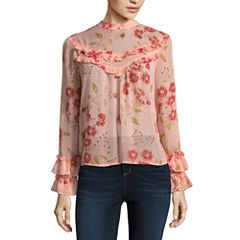 Arizona Long Sleeve High Neck Chiffon Floral Blouse-Juniors