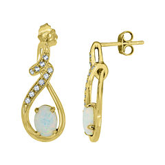 Lab-Created Opal & Lab-Created White Sapphire 14K Yellow Gold Over Sterling Silver Infinity Earrings