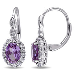 Diamond Accent Purple Alexandrite 14K Gold Drop Earrings