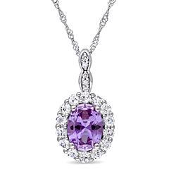 Womens Diamond Accent Purple Alexandrite 14K Gold Pendant Necklace