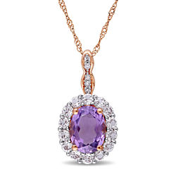 Womens Diamond Accent Purple Amethyst 14K Gold Pendant Necklace