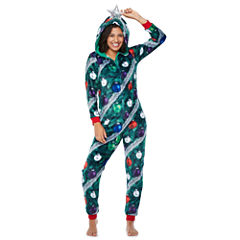 Christmas Tree w/ Hood Long Sleeve One Piece Pajama