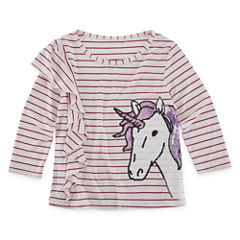 Total Girl 34 Sleeve Sequin Graphic Ruffle Top - Girls' 7-16 & Plus