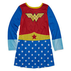 Warner Brothers Long Sleeve Wonder Woman Nightgown-Big Kid Girls