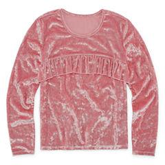 Arizona LS Velvet Ruffle Top - Girls' 7-16 & Plus