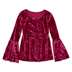 AZ LS Velvet Bell Sleeve Top - Girls' 7-16 & Plus