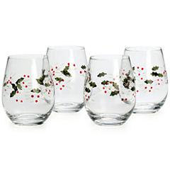 Pfaltzgraff® Winterberry Set of 4 Stemless 16-oz. Wine Glasses