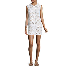 Porto Cruz Chevron Crochet Swimsuit Cover-Up Dress