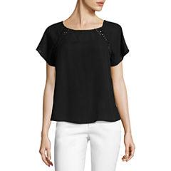 Lily White Short Sleeve Round Neck T-Shirt-Womens Juniors