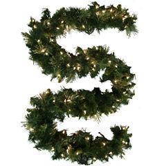 9' Pre-Lit Glitter-Tipped Golden Pine Garland