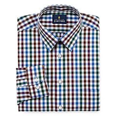 Stafford Travel Performance Super Shirt Long Sleeve Woven Checked Dress Shirt