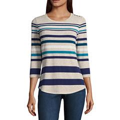 Liz Claiborne 3/4 Sleeve Stripe T-Shirt-Womens Talls