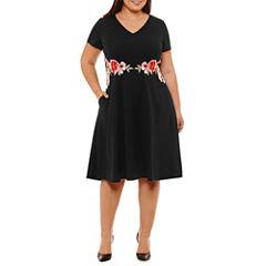 Melrose Short Sleeve Embroidered Floral Fit & Flare Dress-Plus